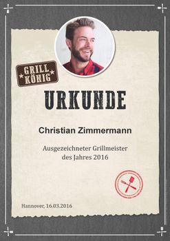 Personalisierte Urkunde für den Grillkönig