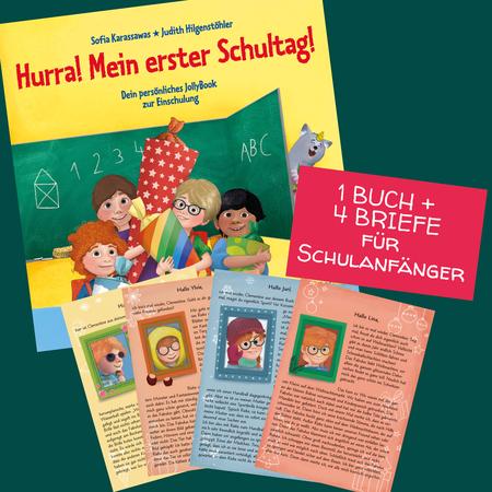 Bundle: Hurra! Mein erster Schultag! und vier personalisierte Briefe